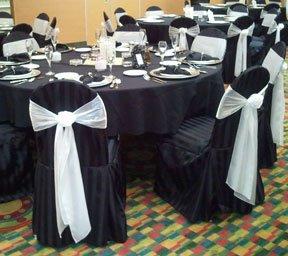 Black Banquet Satin Stripe Chair Cover Rentals