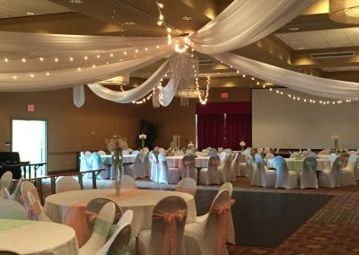 Ceiling Draping by Beyond Elegance at Johnny's Holiday Inn